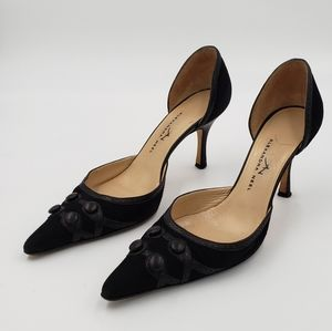 Black Suede with finished leather detail pumps